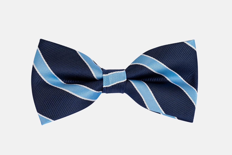 Nơ cưới màu xanh dương sọc viền xanh biển N29