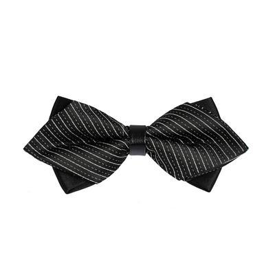 Nơ cưới màu đen sọc xéo xám N38