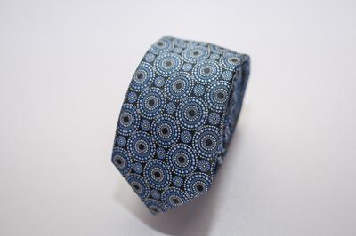 Caravat màu xanh họa tiết tròn C16