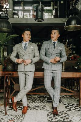 Bộ Suit Xám Caro Bản Vuông - Quốc Cơ/Quốc Nghiệp