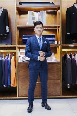 Suit Chú rể Caro xanh  F74.073