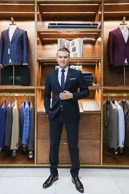 Bộ Suit 2 nút, ve xuôi Xanh Đen