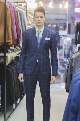 Suit Chú rể Caro xanh Cao cấp