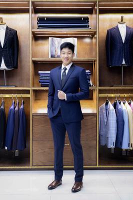 Suit chú rể  Xanh viền ve cổ đen F74.085