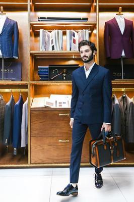 Suit Doanh Nhân Caro xanh đen cài chòm 635138