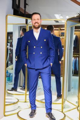 Suit Xanh navy cài chòm nút kiểu nổi bật G84.005