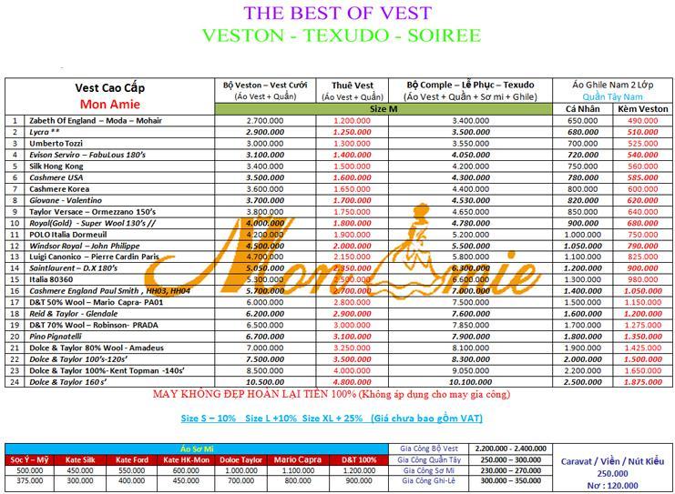 Bảng giá may và thuê veston